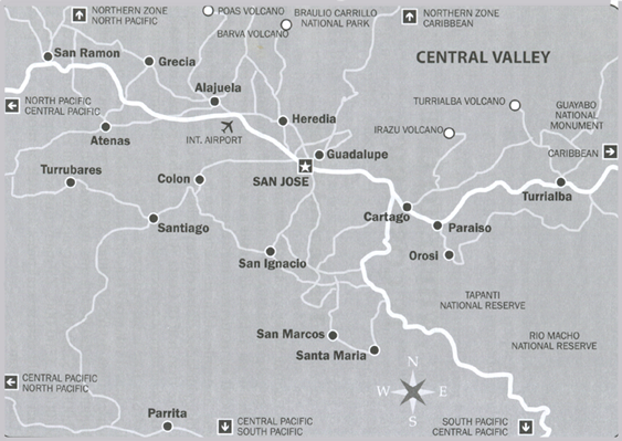 Map Costa Rica Cental Valley