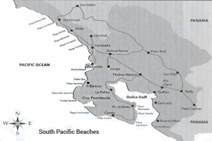 Map Costa Rica South Pacific Beaches