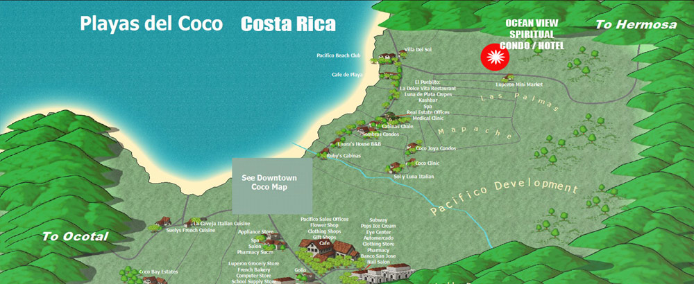 playa del coco map costa rica